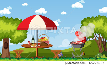 Scene with BBQ grill and food on the picnic table 65278293