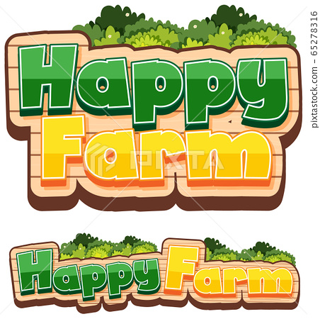 Two signs with word happy farm on white background 65278316