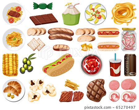 Large set of food and desserts on white background 65278497