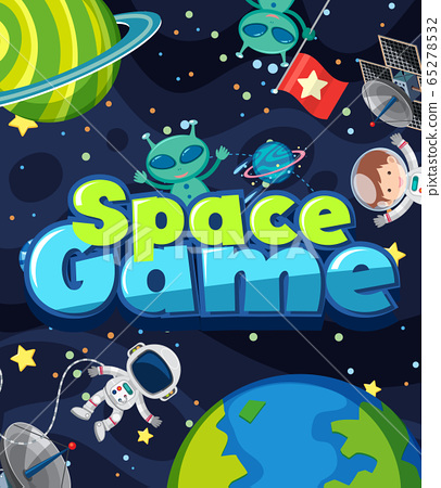 Poster design for space game with alien and 65278532