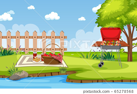 Background scene with barbecue in the park 65278568