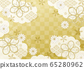 Cloud, ribbon and checkered Japanese pattern gold 65280962