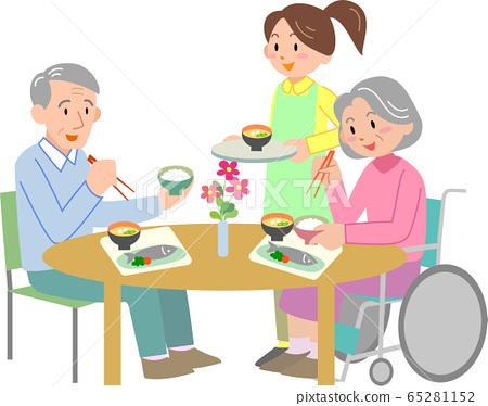 高級職員和女職員吃飯 65281152