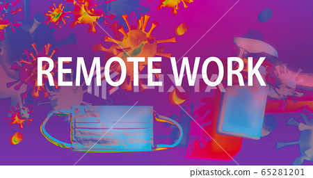 Remote Work theme with face mask and spray bottle 65281201