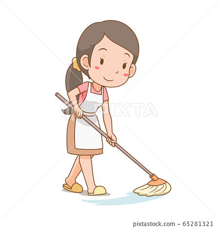 Cartoon character of housewife cleaning the floor. 65281321