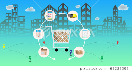 Online delivery service concept, Logistics and 65282395