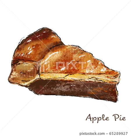 Apple pie illustration real hand-painted 65289927
