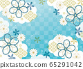 Cloud, ribbon and checkered Japanese pattern red 65291042