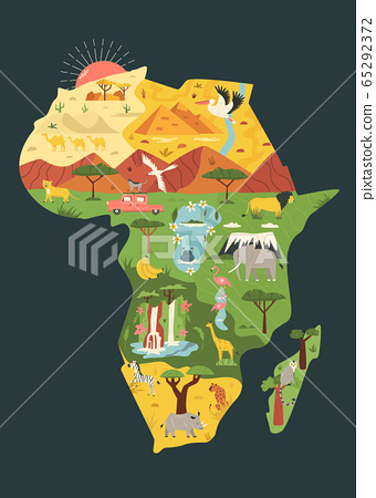 Map of Africa with famous natural landmarks and 65292372