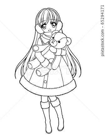 Girl coloring book / winter girl (no background) 65294171