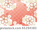 Cloud, ribbon and checkered Japanese pattern red 65294383