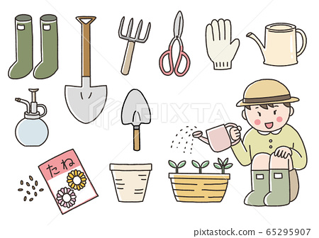 Hand drawn style illustration of a child watering with a set of gardening tools 65295907