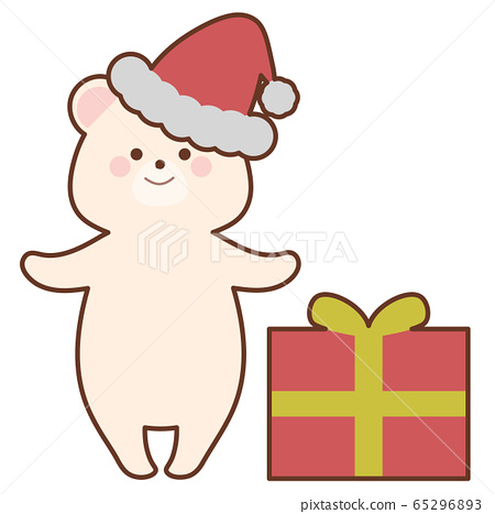 크리스마스 선물과 산타의 북극곰 65296893