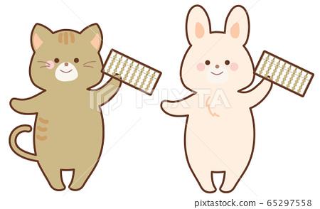 設置有算盤的兔子和貓 65297558