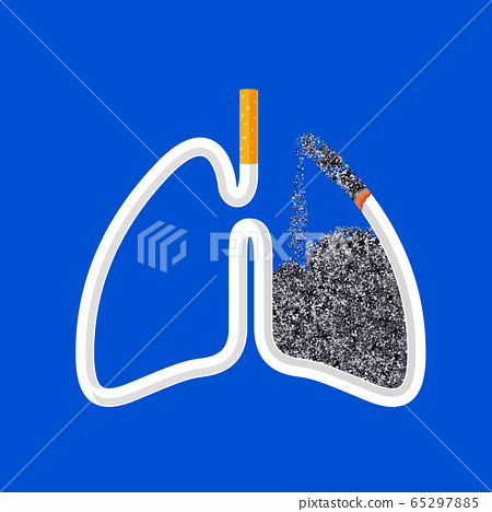Cigarette in abstract human lung. Stop smoking concept. 65297885
