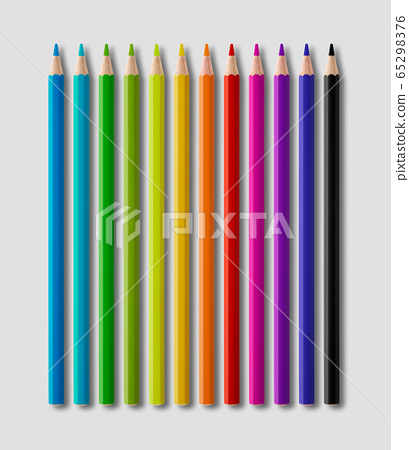 Set of color wooden pencil collection on grey 65298376