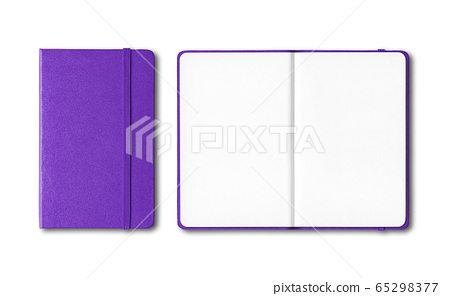 Purple closed and open notebooks isolated on white 65298377