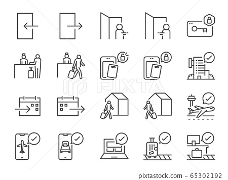 Check-In and Check-Out line icon set. 65302192