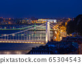 Budapest Bridges By Night On Danube River 65304543