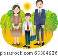 부모와 중학생 소년 여름 가을 행사 65304936