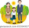 부모와 중학생 여자 여름 가을 행사 65304937