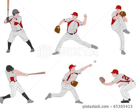 baseball players detailed color illustration 65305413