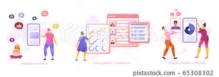 Business people creative team set for SMM analytics, audience segmentation.  65308302