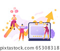 Cartoon icon with SMM, social media network influencer marketing with characters. 65308318