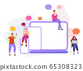 Cartoon icon with social media communication characters. that chat in phone, tablet, notebook with text babble. 65308323