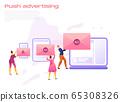 Cartoon icon with push advertising - social media blogger earnings marketing business  65308326