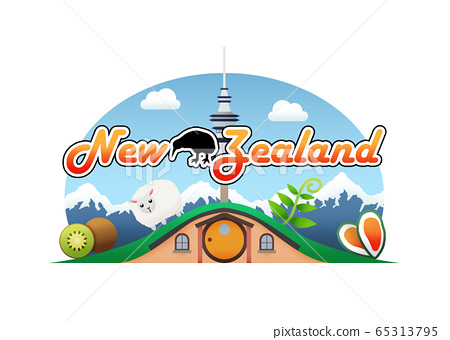 Logo of chopped kiwi, a sheep, a fern , a couple of Mussels, and Auckland Sky Tower over a hobbit house with a mountain range in the background and silhouette of kiwi bird at the front 65313795