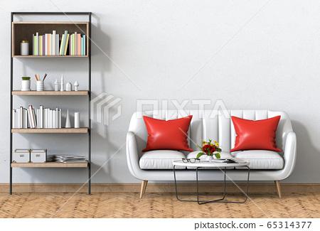 interior modern living room with sofa, decoration, 3D render 65314377