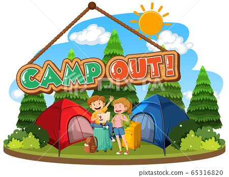 Font design for camp out with tent in the park 65316820