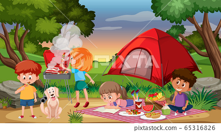 Scene with happy children camping and having 65316826