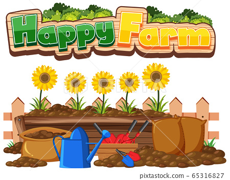 Font design for happy farm and sunflowers in the 65316827