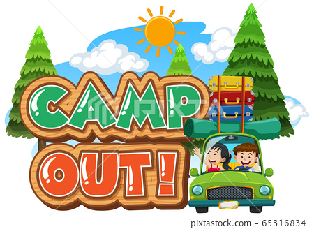 Font design for camp out with tent in the park 65316834