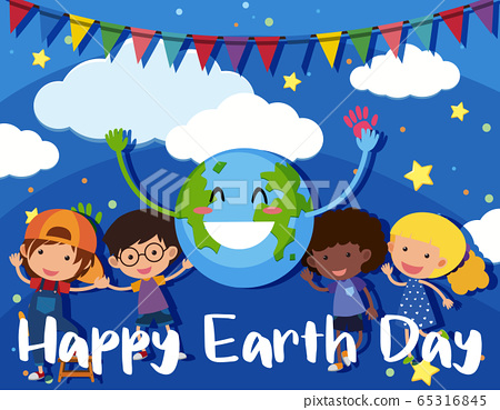 Poster design for happy earth day with happy 65316845