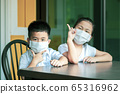asian children wearing protection mask quarantine 65316962