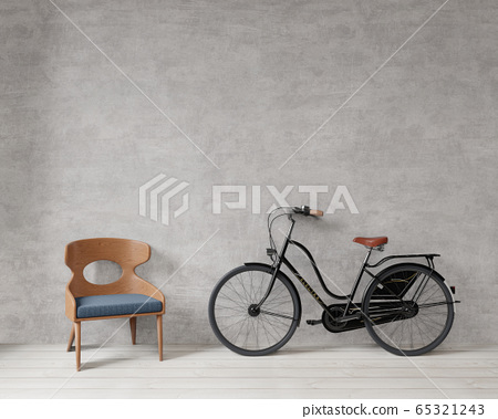 chair and bicycle with raw concrete wall ,wooden floor ,copy space ,mock up , 3d rendering 65321243