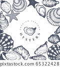 Oysters design template. Hand drawn vector 65322428