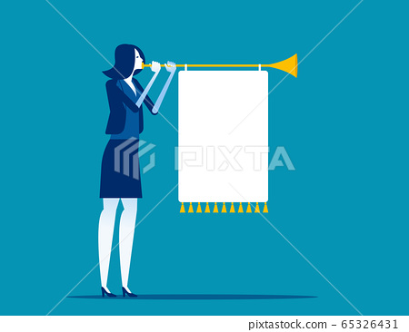 Woman blowing a horn with a banner. Business 65326431