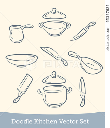 doodle kitchen set isolated on white background. Vector 65327625