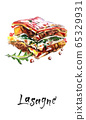 Tasty lasagne with meat covered with cheese, watercolor hand drawn illustration 65329931