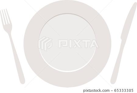Fork knife white plate vector 65333385