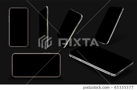Smartphone frame less blank screen, rotated position. Smartphone from different angles. Mockup generic device. Black Smartphones set. Template for infographics or presentation 3D realistic phones. UX 65335377