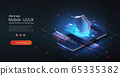 Isometric mobile phone and internet banking. Transfer money from card. smartphone and bank card on dark background. Phone data protection. Mobile payment protection. Vector illustration. Mobile app UX 65335382