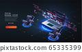 Software, web development, programming concept. Programming, testing cross platform code, web banner. Abstract Programming language and program code on screen laptop. Computer code on laptop, phone. 65335399