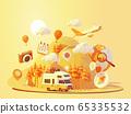 Vector camper van travel adventures 65335532