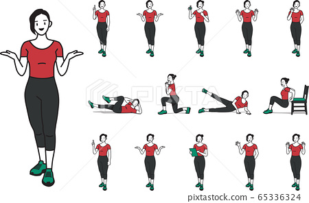 A set of character designs that the female fitness trainer describes 65336324
