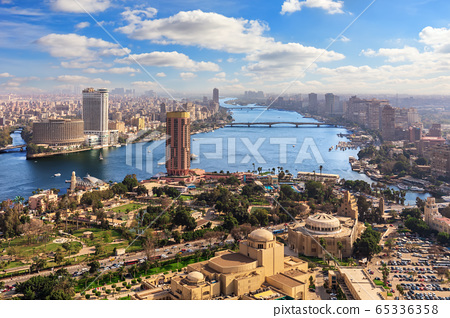 The Nile and the center of Cairo, Egypt, view from above 65336358